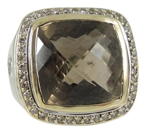 David Yurman David Yurman Sterling Silver 18K .48tcw 15mm Smoky Quartz Albion Ring
