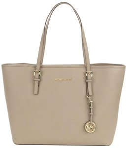 MICHAEL Michael Kors Jet Set Dark Satchel in Beige
