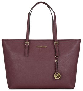 MICHAEL Michael Kors Jet Set Merlot Saffiano Leather Travel Tote Satchel in Red