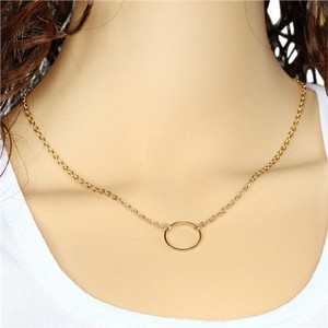 Anthropologie Gold Circle Necklace