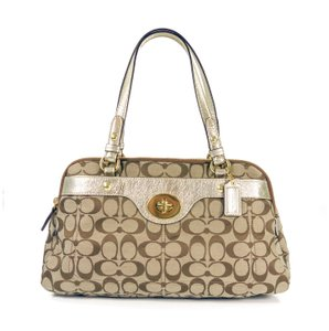 Coach Signature Jacquard Metallic Leather Hardware Satchel in Khaki & Gold