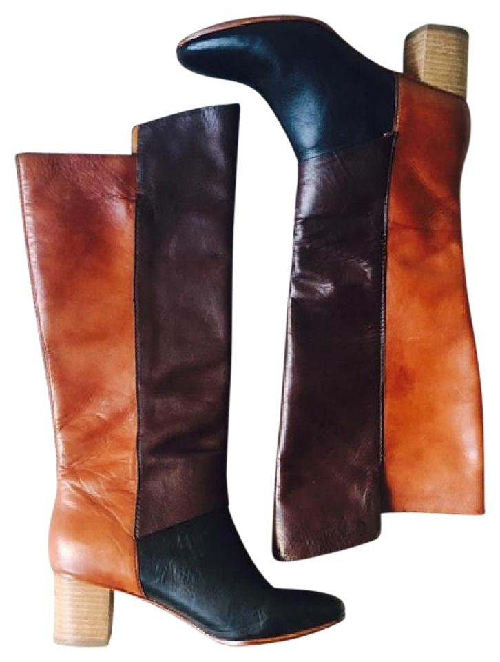 Anthropologie Excellent Brown/ Black Leather Pull-on Excellent Anthropologie Condition Boots/Booties a160a0