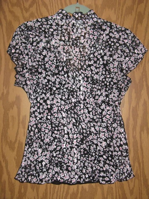 Kim Rogers Top Black/Pink/White Print