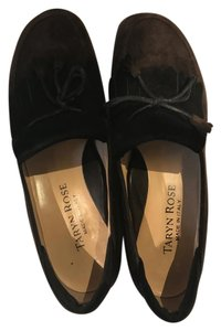 Taryn Rose Comfort Slip On Black and Brown Suede Loafer with Kilte Flats
