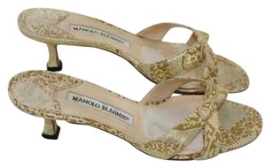 Manolo Blahnik Blue Sandals Metallic Gold Mules