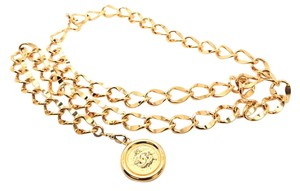 Chanel #10024 CC large long double chain gold two way necklace belt