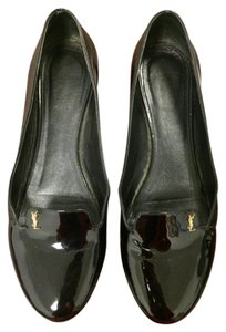 Saint Laurent Patent Leather Loafers Ysl Black Flats