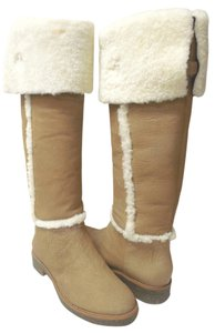 Diane von Furstenberg Knee High Tall Tan and Cream Shearling Boots