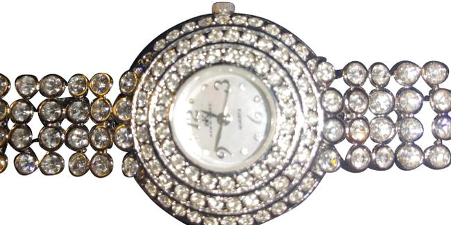 Item - Silver and Crystal Mother Of Pearl Face Watch
