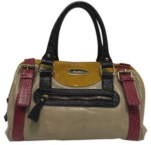 DUDU Satchel in cream, black, mustard, & dark pink