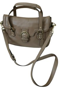 Coach F27231 Campbell Leather Flap Satchel Camel Brown Cross Body Bag