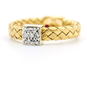 Roberto Coin Roberto Coin Primavera Woven Diamond Band Ring 18k White, Yellow Gold