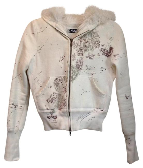 Item - Ivory Faux Fur Lined Graphic Hoodie Jacket Size 4 (S)