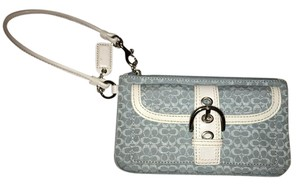 Coach Leather Canvas Buckle Wristlet in Light Blue and White