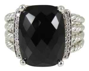 David Yurman David Yurman Sterling Silver .14tcw Onyx Diamond Wheaton Ring