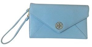 Tory Burch Saffiano Leather Gold Details Envelope Clutch Wristlet in Blue
