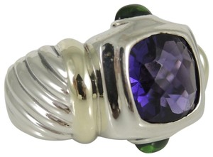 David Yurman David Yurman Sterling Silver 14K Amethyst Green Tourmaline Ring