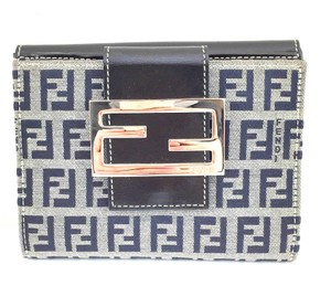 Fendi #10030 Grey FF Logo Canvas Leather compact Wallet