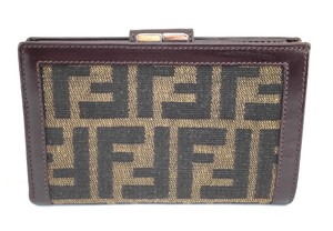 Fendi #10031 Zucca FF Logo canvas leather french kisslock Wallet