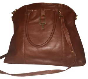 Tahari Leather Brown Satchel in Brown/Cognac