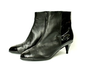 Chanel Cap Toe Leather black Boots
