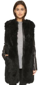 Vince Leather Suede Sherling Coat