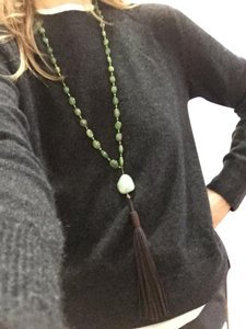 Tracey Chareas Designs Dyed Emeralds and Cloudy Aquamarine drop, Brass, Brown Leather Tassel