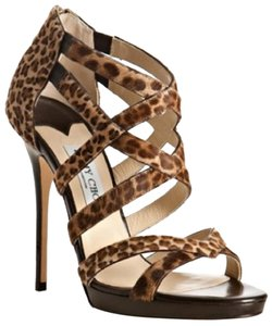 Jimmy Choo Leopard Heels Pony Hair Brown Sandals