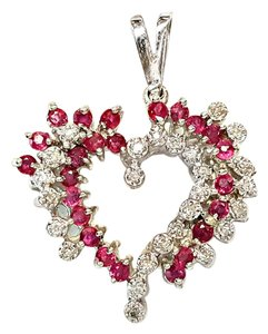 DeWitt's Beautiful 14 K White Gold Heart Pendant With Diamonds and rubies!