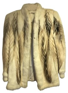 Other WOMENS CREAM / WHITE and BROWN MINK JACKET Jacket