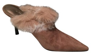 A.Marinelli tan with faux fur Mules