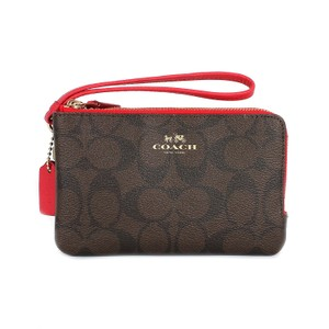 Coach Double Zip Monogram Wristlet in Brown