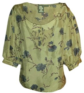 Anthropologie Silk Bell Sleeves Peasant Top cream