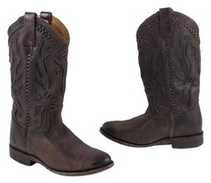 Frye Western Mid Calf Antiqued Brown Boots