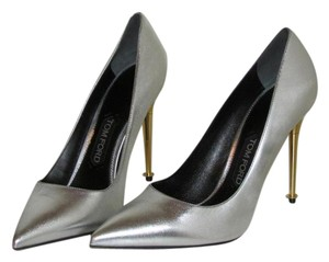 Tom Ford Metallic Silver Leather Pumps