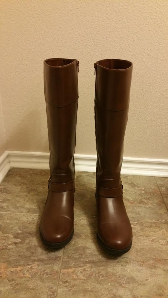 32bf66acb858 Liz Claiborne Brown Trina Quilted Riding Calf Width Boots Booties ...