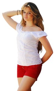 Lirome Embroidery White Beach Resort Summer Mini/Short Shorts Red