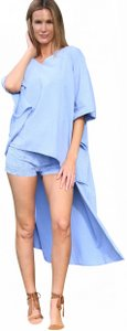 Lirome Embroidery White Beach Resort Summer Mini/Short Shorts Denim Blue