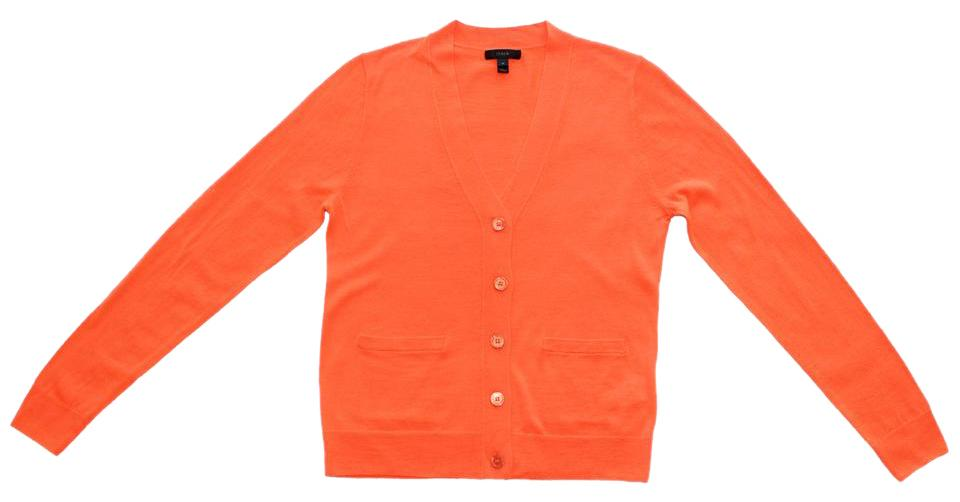 38dd2d7e6e9b J.Crew Neon Persimmon V-neck Sweater In Merino Wool Cardigan Size 4 ...