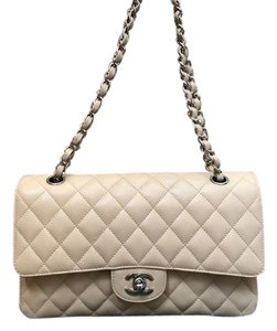 Chanel Quilted Caviar Leather Silver Hardware Brand New Double Flap Shoulder Bag