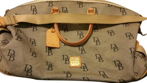 Dooney & Bourke Blue and beige with brown leather Travel Bag