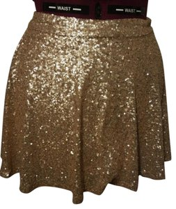 Bethany Mota for Aéropostale Sequin Party Sparkle Silk Mini Skirt Gold