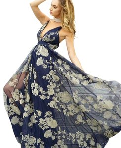 blue with beige or cream print Maxi Dress by L'ATISTE