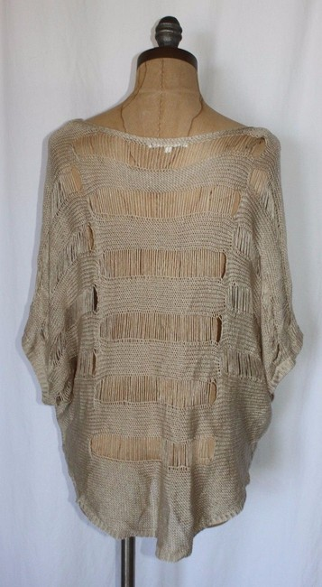 Anthropologie Crochet Free People Theory Alice Olivia Top BEIGE Image 3