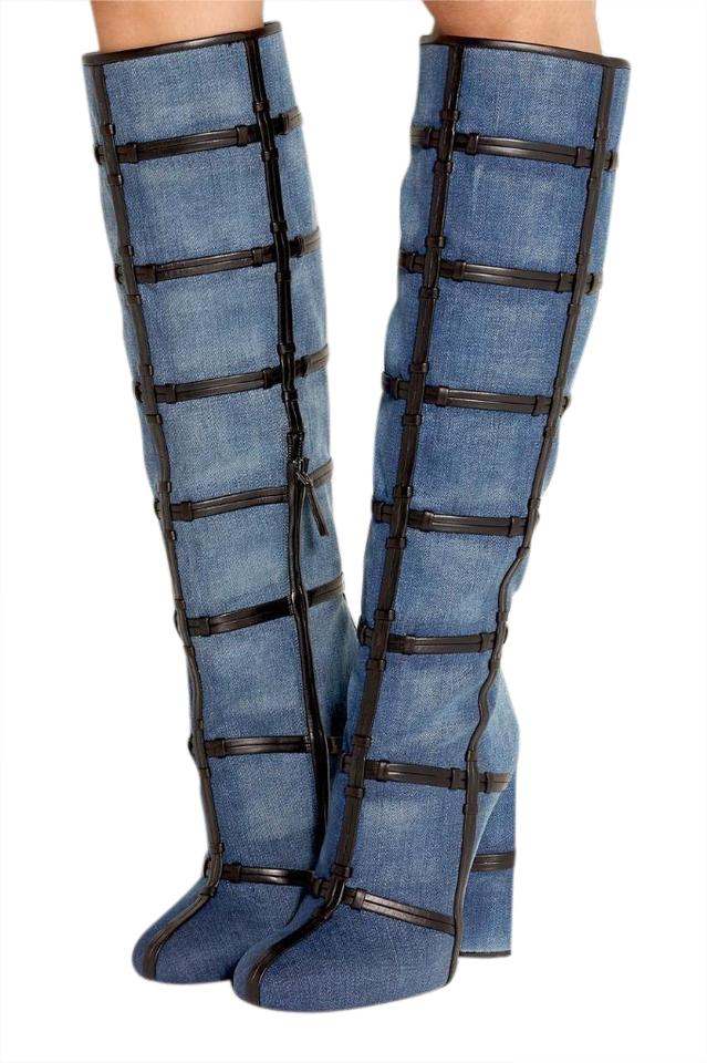 Tom Patchwork Ford Blue Denim Jean Patchwork Tom Knee High Boots/Booties 308886