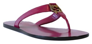 Gucci 344938 Womens Gg Thong Patent Leather 40gus Bouganville Sandals