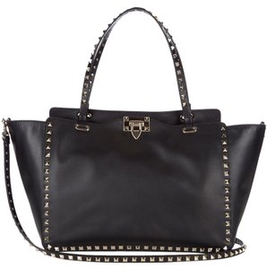 Valentino Studed Rockstud Trapeze Metallic Classic Tote in Black