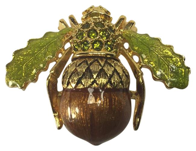 Item - Gold/Brown/Green Collection Acorn Bee Brooch