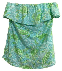 Lilly Pulitzer Sleeveless Ruffle Top Blue, Green, White