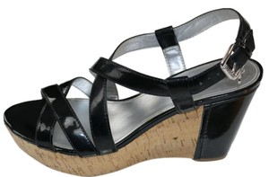 Guess Wedge Summer Black Patent and Cork Platforms
